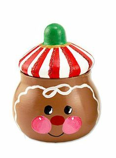 Cute painted Ginger Jar  http://www.michaels.com/Gingerbread-Jar/27409,default,pd.html?cgid=projects-christmas-holidaycraftroom=1