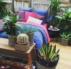 Panier corbeille avec des plantes