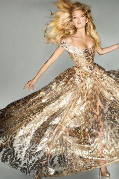 Lily Donaldson in gold Vivienne Westwood, Vogue