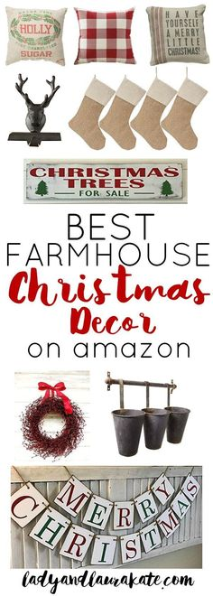 The best Farmhouse Christmas Decor on Amazon! I've rounded up the very best rustic and inexpensive holiday decor that Amazon has to offer! #farmhousechristmasdecor