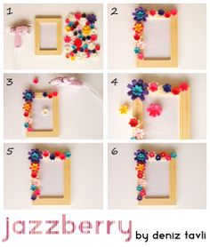 jazzberry by deniz tavli: DIY: Frame with Felt Flowers jazzberry von deniz tavli: DIY: Rahmen mit Filzblumen Kids Crafts, Felt Crafts Diy, Felt Diy, Diy Arts And Crafts, Christmas Crafts For Kids, Toddler Crafts, Photo Frame Decoration, Picture Frame Crafts, Picture Frames