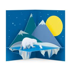 Moonlit Polar Bear Holiday Cards - Set of 8 in color Pop Up, Crystal Glass Set, Faceted Crystal, Account History, Triangle Bag, Up Book, 3d Cards, New Kids, Merry And Bright