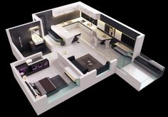 Modern One Bedroom House Plans - √ 16 Modern One Bedroom House Plans , 86 M² A Pact Modern Two Bedroom House with Small Apartment Interior, Apartment Layout, Apartment Plans, Apartment Design, One Bedroom Apartment, Apartment Ideas, One Bedroom House Plans, 3d House Plans, Bedroom Floor Plans