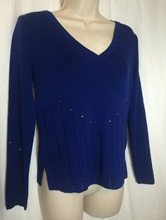 0730816 St John Collection Marie Gray Blue Bling Knit Blouse 4 Long Sleeve Top | eBay