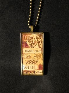 Darn Fine Wine Wine Cork Mosaic Pendant by WineCorkCouture on Etsy