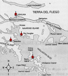 Map of the four missions in the southernmost channels of the Tierra del Fuego archipeligo, southern Patagonia.  Shows location of Harberton (named after Harberton in Devon, UK) where the Rev.Thomas Bridges settled and established a ranch with his family. Links to an historical review entitled Anglican Missionary Endeavour in Tierra del Fuego (1832-1916). Source:  http://patbrit.org/