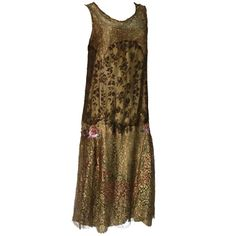 1920s Exquisite Gold Lame Lace Tea Dress with Hand Painting | From a collection of rare vintage evening dresses at http://www.1stdibs.com/fashion/clothing/evening-dresses/