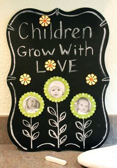 Life in the Craft Lane: Designer Crafts -  featured this fun idea with our EmbellishYourStorybyRoeda chalkboard! It's memory keeping with flowers and magnets!
