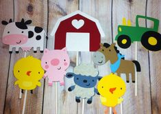 Set of 24 Farm Animal Cupcake Toppers, Farm Animal Themes, Pigs, Cows, Sheep, Horse, Party Decor, Baby Shower, Birthday Parties on Etsy, $19.31
