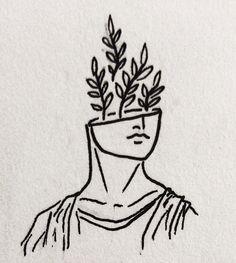 floral fern statue tattoo Greek line Line Art Tattoos, Tattoo Flash Art, Body Art Tattoos, Cute Tiny Tattoos, Small Tattoos, Art Drawings Sketches, Tattoo Drawings, Greek Drawing, Greek Mythology Tattoos