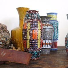 Mid Century Italian Art Pottery Vase / Multi Colored on Brick Red