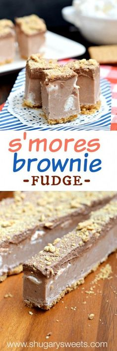 Frosted S'mores Brownie Fudge: it's got all the makings of s'mores...and brownies...in a delicious bite of fudge!