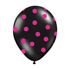 6 Ballons de baudruche noir à pois fuchsia, une excéllente qualité pouvant être gonflés à l'Hélium, une ambiance moderne apportée à vos décorations de salle. Vous pourrez les harmoniser avec les ballons fuchsia à pois noir.