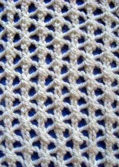 Knitting instructions for Star Rib Mesh knitting stitch pattern, an easy openwork lace pattern. Intarsia Knitting, Knitting Stiches, Knitting Blogs, Knitting Kits, Knitting Charts, Lace Knitting, Knitting Patterns, Crochet Patterns, Knit Stitches For Beginners
