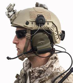 HHV ATE® #tactical Ballistic Helmet sporting Ops-Core VAS Shroud, Wilcox Mount, Ops-Core Counter weight.
