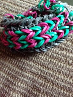 Mint, fuchsia, and gray loom bracelet--made by my 9-yd.old.