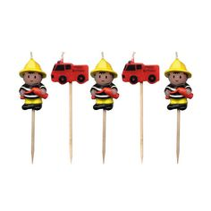 Fireman And Fire Engine Birthday Party Mini Pick Candles Fireman Party, Firefighter Birthday, Fireman Sam, Fireman Kids, Sweet Party, Kids Party Themes, Party Ideas, Party Shop, Party Party