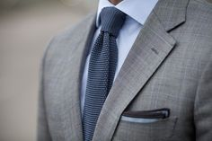 Great windowpane suit, knit tie - grey & blue coordinate.