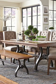 The Arlington House Dining Collection features a metal, urban style trestle table, comfortable upholstered chairs, matching metal trestle dining bench and additional storage space in a great server. Modern Farmhouse Table, Rustic Bench, Farmhouse Style, Trestle Dining Tables, Dining Bench, Dining Set, Dining Room Art, Art Van, Interior Design
