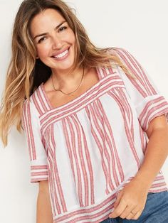 Oversized Striped Linen-Blend Square-Neck Top for Women | Old Navy Square Neck Top, Shop Old Navy, Striped Linen, Old Navy Women, Everyday Fashion, Style Inspiration, Sleeves, Stripes, Tops