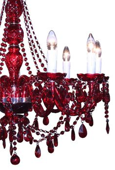 Nine Branch Red Chandelier. Chandelier Bougie, Chandeliers, Red Chandelier, Shades Of Burgundy, Burgundy Wine, Burgundy Color, Magenta, Red Wine, Pink Brown