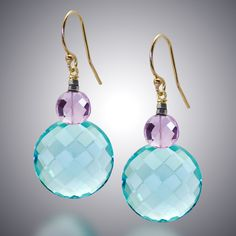 Aqua Quartz and Pink Amethyst Earrings by Judy Bliss. These aqua quartz faceted earrings include pink amethyst and 14k gold-filled ear wires.