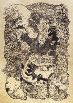 【つながり】#illust #猫 #design #猫 #cat #イラスト #猫デザイン #猫イラスト #細密画 #猫の絵 Vintage World Maps, Illustration, Illustrations