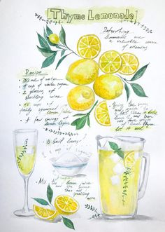 Kitchen Witch, Kitchen Art, Recipe Drawing, Lemonade, Thyme Recipes, Food Journal, Recipe Journal, Halloween Drinks, Margarita Recipes