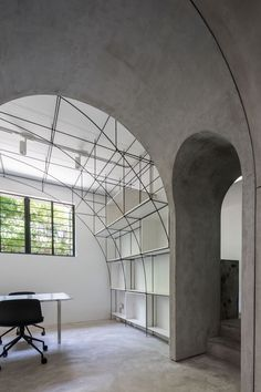 MONOARCHI Shanghai Office,Arched door between the meeting room and the model room. Interior Architecture, Interior And Exterior, Interior Design, Arch Interior, Futuristic Architecture, Shanghai, Office Party Decorations, Home Office, Office Decor