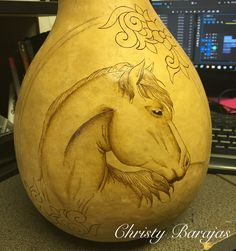 Work in progress... Pyrography horse gourd by Christy Barajas