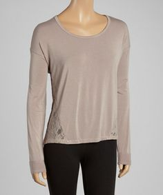 Look what I found on #zulily! Dove Semi-Sheer Lace Scoop Neck Top by American Buddha by Yogi #zulilyfinds