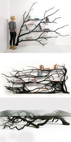 Artist Sebastian Errazuriz found a fallen tree branch and instead of letting a wood chipper decide its fate he gave it new purpose as a modern shelving unit. - Wood Chipper - Ideas of Wood Chipper Diy Furniture, Furniture Design, Unique Furniture, Luxury Furniture, Repurposed Furniture, Furniture Stores, Contemporary Furniture, Wood Chipper, Tree Shelf
