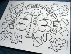 Thanksgiving Coloring Crafts for the Kids' Table - Printable Thanksgiving Crafts Thanksgiving Placemats, Thanksgiving Art, Thanksgiving Crafts For Kids, Thanksgiving Parties, Thanksgiving Activities, Fall Crafts, Holiday Crafts, Holiday Fun, Thanksgiving Coloring Sheets