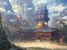 ArtStation - blade and soul mobile (战斗吧剑灵) - oh ji hoon Fantasy Art Landscapes, Fantasy Landscape, Fantasy Castle, Medieval Fantasy, Samurai Artwork, Blade And Soul, Asian Architecture, Landscape Concept, Fantasy Places