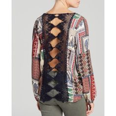 Vintage Havana Patch Print Crochet Back Top Dip into the eclectic with a Vintage Havana top that features a patchwork print and sheer crochet back. Vintage Havana Tops