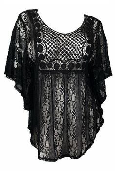 eVogues Sheer Crochet Lace Poncho Top Black - Small