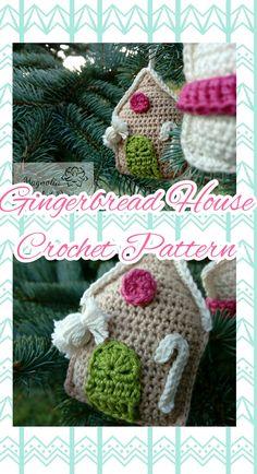 Crochet Pattern (pdf), US Crochet terminology Christmas Gingerbread House, Christmas Crochet Patterns, House Ornaments, Crochet Hats, Pdf, Unique Jewelry, Handmade Gifts, Etsy, Vintage