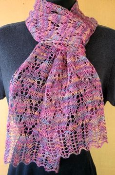 Maple Leaves Scarf. HeartStrings knitting pattern #A30. Shown in Mountain Colors Winter Lace Junior, color Prairie