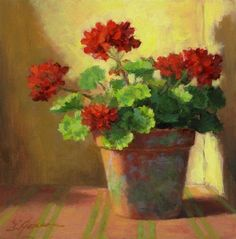 """Sunlit Geraniums"" by Linda Jacobus"