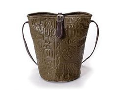 cadc89e19d Vintage Embossed Calfskin Genuine Leather Small Cross Body Bucket Should Bag