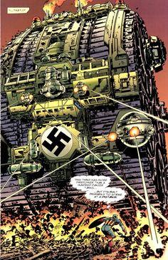 Captain America vs. giant nazi tank (Batman and Captain America Vol. 1 #1, John Byrne 1996)