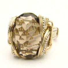 Handmade Wire Wrap Two Tone Sterling Silver/14kt Gold Filled Smoky Quartz Ring,