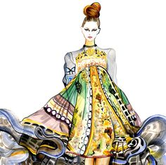 Runway Fashion Illustration  Mary Katrantzou by sunnygu on Etsy, $30.00