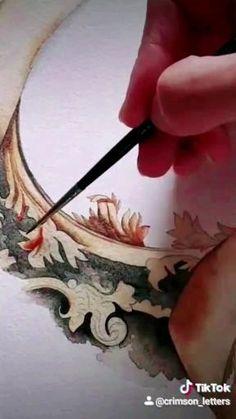 Watercolor Portrait Tutorial, Watercolor Art Face, Floral Watercolor, Baroque Painting, Baroque Art, Baroque Wedding, Canvas Painting Tutorials, Textile Sculpture, Crest Logo