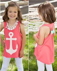 2016 Summer Children Baby Girls Kids Tanks Camis Bow Back Movie Anchor Tops Vest Slim Casual Sleeveless T-Shirt 3 4 5 6 7 Years #Affiliate