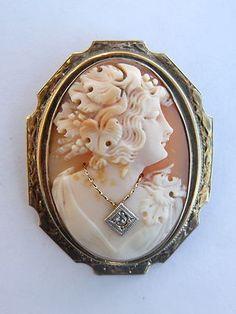 Stunning Art Nouveau 14k Gold Diamond Carved Shell Cameo Pin Brooch | eBay