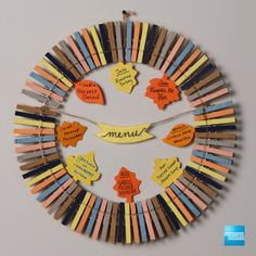 Presentation counts during your Thanksgiving or Friendsgiving dinner party. We partnered with Buzzfeed for this Clothespin Menu Wreath – an elegant, simple, and easy to make DIY decoration idea. A homemade fall craft for your epic potluck with friends and family. Plus, when you shop for materials, get cash back on purchases with the Blue Cash Everyday Card from American Express. Terms apply. Click the pin to learn more.