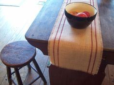 Farmhouse Burlap Table Runner 12 x 60 or 14 x 60 with Barn Red Double Stripes - Other Colors Available - Grain Sack Table Runner