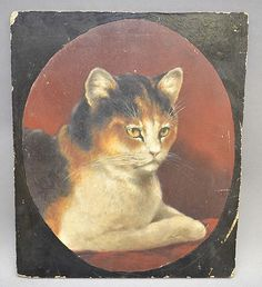 19TH CENT. OIL PAINTING OF A CAT (Unknown artist)