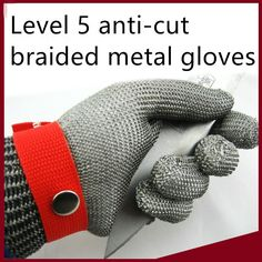 Level 5 anti-cut braided metal stainless steel with the metal buckle gloves cut-resistant glove #Affiliate